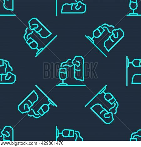 Green Line Sommelier Icon Isolated Seamless Pattern On Blue Background. Wine Tasting, Degustation. S