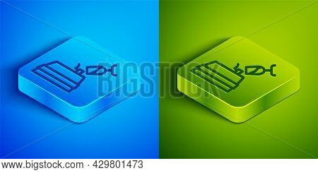 Isometric Line Wine Tasting, Degustation Icon Isolated On Blue And Green Background. Wooden Barrel F
