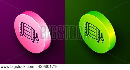 Isometric Line Wooden Barrel Icon Isolated On Purple And Green Background. Alcohol Barrel, Drink Con