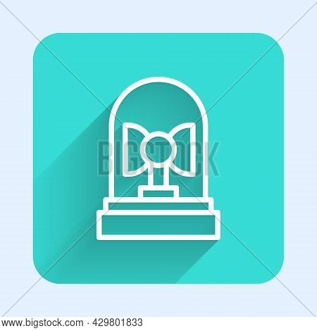 White Line Flasher Siren Icon Isolated With Long Shadow Background. Emergency Flashing Siren. Green