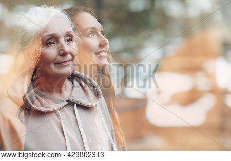 Grandmother And Granddaughter Women Double Exposure Image. Young And Elderly Woman Portrait. Love, D
