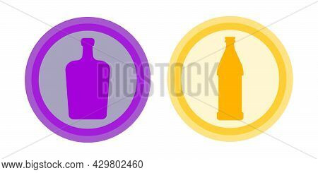 Bottle Of Beer, Liquor. Background Is Circle. Isolated Color Object Design Beverage. Graphic Illustr