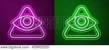 Glowing Neon Line Masons Symbol All-seeing Eye Of God Icon Isolated On Purple And Green Background.