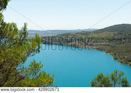 Panoramic Landscape Of The Grado Water Reservoir In Torreciudad Huesca In Spain With Selective Focus