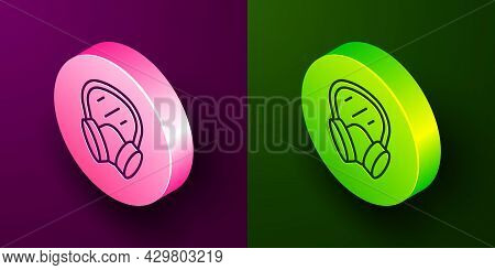 Isometric Line Gas Mask Icon Isolated On Purple And Green Background. Respirator Sign. Circle Button