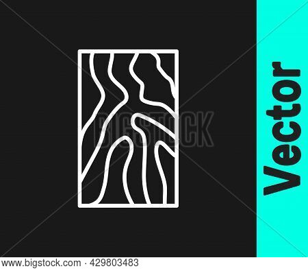 White Line Wooden Beam Icon Isolated On Black Background. Lumber Beam Plank. Vector