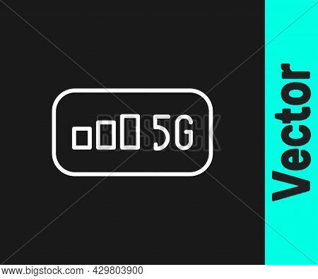 White Line 5g New Wireless Internet Wifi Connection Icon Isolated On Black Background. Global Networ