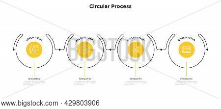 Progress Bar With Four Circular Elements Placed In Horizontal Row And Connected By Lines. Concept Of