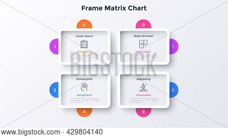 Matrix Chart With 4 Rectangular Framed Cells With Letters And Numbers Arranged In Rows And Columns.