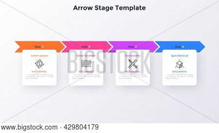 Progress Bar With Four Colorful Arrows And Paper White Square Elements Placed In Horizontal Row. Con