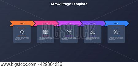 Progress Bar With Five Colorful Arrows And Paper Black Square Elements Placed In Horizontal Row. Con