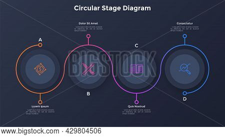 Process Chart With Four Paper Black Circular Elements Placed In Horizontal Row And Curved Line. Conc