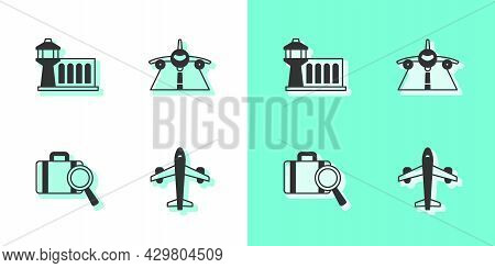 Set Plane, Airport Control Tower, Lost Baggage And Icon. Vector