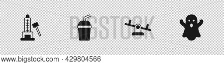 Set Striker Attraction With Hammer, Paper Glass Water, Seesaw And Ghost Icon. Vector