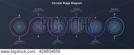 Process Chart With Six Paper Black Circular Elements Placed In Horizontal Row And Curved Line. Conce