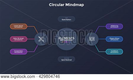Mind Map Scheme With Six Rounded Elements Connected To Central Circle. Concept Of Business Project V