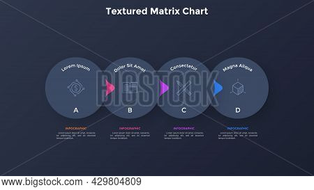 Flowchart With Four Overlaying Paper Black Elements With Pointers Placed In Horizontal Row. Concept