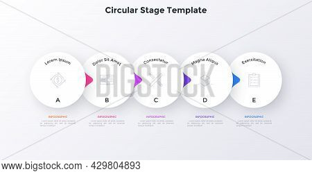 Flowchart With Five Overlaying Paper White Elements With Pointers Placed In Horizontal Row. Concept