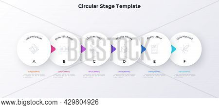 Flowchart With Six Overlaying Paper White Elements With Pointers Placed In Horizontal Row. Concept O