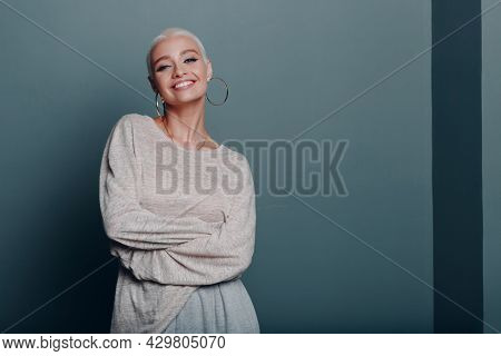 Millenial Young Woman With Short Blonde Hair Smiling Portrait Copy Space