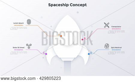 Space Rocket Or Paper White Spacecraft Connected To 4 Options. Concept Of Four Elements Of Startup P