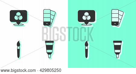 Set Tube With Paint Palette, Rgb And Cmyk Color Mixing, Paint Brush And Color Guide Icon. Vector