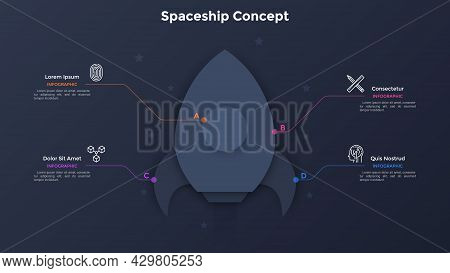 Space Rocket Or Paper Black Spacecraft Connected To 4 Options. Concept Of Four Elements Of Startup P