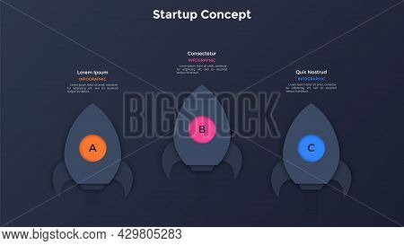 Three Paper Black Rockets Or Spaceships Flying Up. Concept Of Three Steps To Start Business Project.