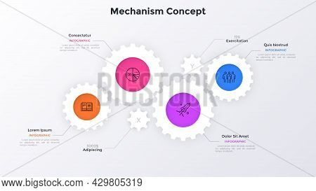 Diagram With Four Paper White Gear Wheels. Concept Of 4 Features Of Innovative Manufacturing Project