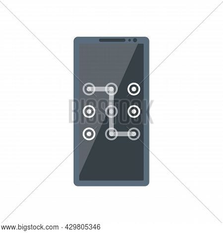 Unlock Screen. Smartphone Screen. Graphic Pattern As A Symbol Of Protection. Safety Of Phone, Mobile