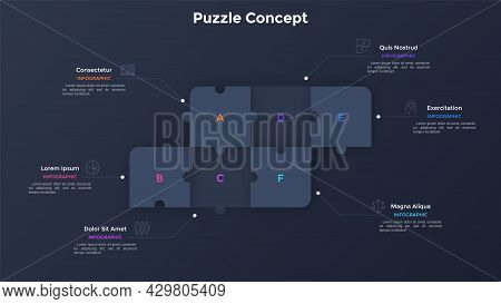 Process Chart With Six Connected Paper Black Square Jigsaw Puzzle Pieces. Concept Of 6 Steps Of Busi