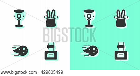 Set Bottle With Potion, Medieval Goblet, Fireball And Magician Hat And Rabbit Ears Icon. Vector