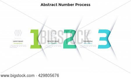 Three Numbers Or Figures Overlaid By Paper White Corners Or Arrows. Concept Of 3 Successive Steps Of