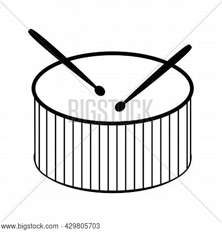 Drum And Drumsticks Icon. Percussion Musical Instrument Black Line Symbol Isolated On White Backgrou