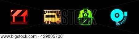 Set Road Barrier, Fire Truck, Firefighter Helmet And Ringing Alarm Bell Icon. Vector