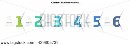 Six Numbers Or Figures Overlaid By Paper White Corners Or Arrows. Concept Of 6 Successive Steps Of B