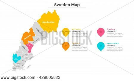 Sweden Map Divided Into Federal States. Territory Of Country With Regional Borders. Swedish Administ