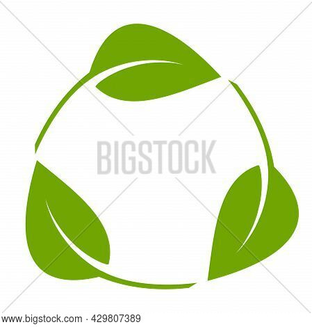 Circular Recycling Symbol Made Of Leaves Isolated On White Background, Vector Illustration