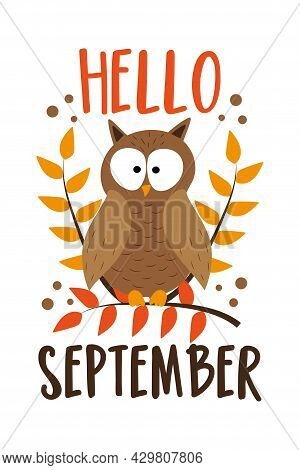 Hello September - Autumnal Greeting With Owl On Branch. Good For Greeting Card, Poster, Banner, Home