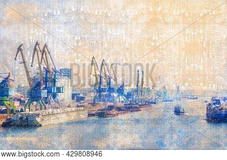 Seaport Berths With Ships, Portal Cranes, Barges, Tugboats. Cargo Operations On Loading, Unloading O