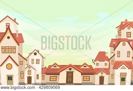 Cartoon Houses In The Evening. Village Or Town. Frame. A Beautiful, Cozy Country House In A Traditio