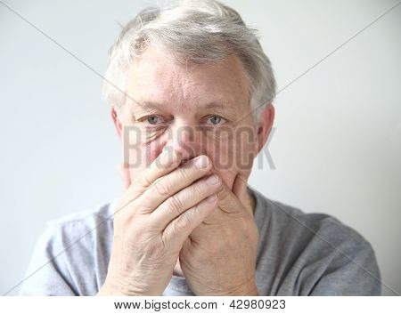 man worried about his bad breath