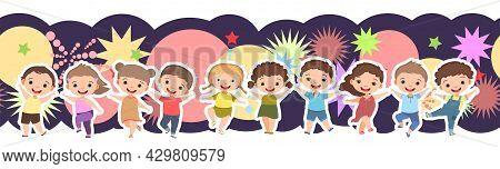 Children Dance Joy. Happy Childhood. Seamless. Little Boys And Girls. Kid Is Jumping For Joy At The
