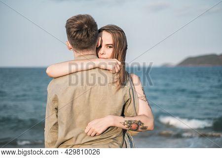 Portrait Of Lovely Couple Cuddling. Girlfriend Cuddle Boyfriend. Honeymoon. Millennial. Just Married