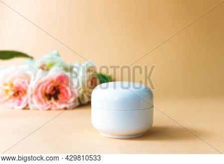 Moisturizing Cream For Sensitive Skin, Spa Cosmetic And Natural Clean Skincare Product On A Backgrou