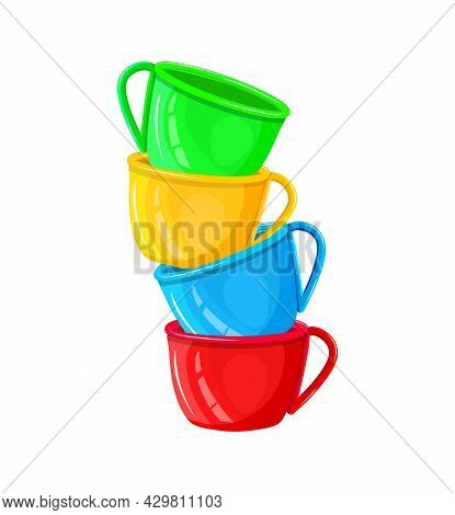 Stack Of Colorful Coffee Cups Isolated On White Background. Pile Of Mugs With Different Color. Porce