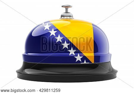 Reception Bell With Bosnian Flag. 3d Rendering Isolated On White Background