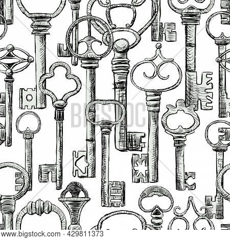 Seamless Background From Various Drawn Old Metal Forged Keys