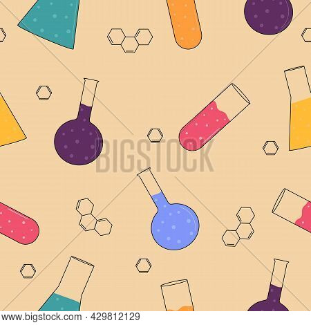 Chemistry Seamless Pattern. Multicolored Chemical Flasks On A Beige Background.