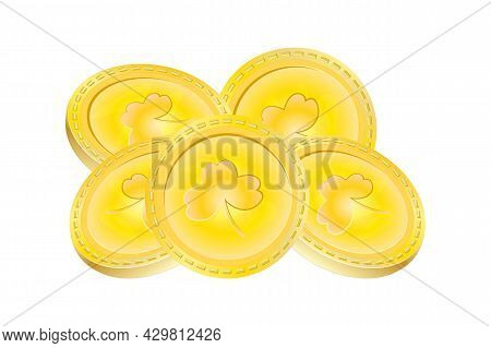 Small Heap Of Gold Coins With The Image Of Shamrock Or Trefoil Isolated On White Background. St. Pat